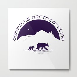 Asheville - Mountains & Black Bears - AVL 11 Purple on White Metal Print