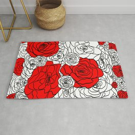 White & Red Rose Bush Rug