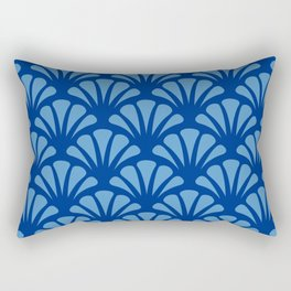 Navy and Turquoise Deco Fan Rectangular Pillow