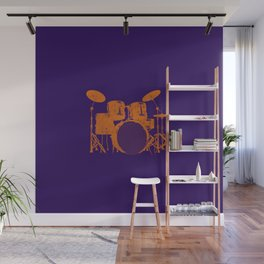 Vintage Drummer Drums Distressed Wall Mural