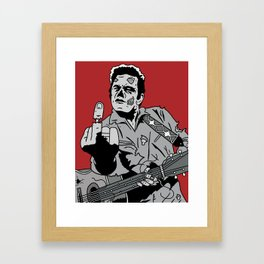 Johnny Cash Zombie Portrait Giving the Finger Print Framed Art Print