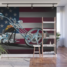 Classic Chopper Style Motorcycle Wall Mural