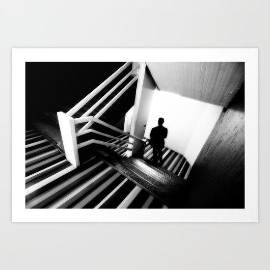 man on stairs Art Print