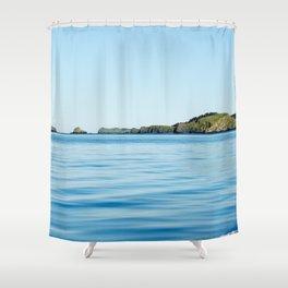 Island on the Horizon Photography Print Shower Curtain