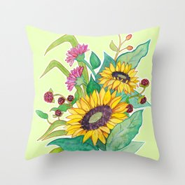 Sunflower Ikebana Throw Pillow