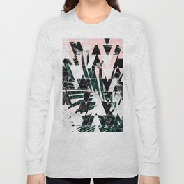 Modern geometric triangles black white abstract marble pattern palm tree leaf pink ombre Long Sleeve T-shirt