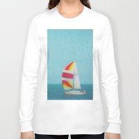 sailboat Long Sleeve T-shirts featuring Bright Sailboat by Pure Nature Photos