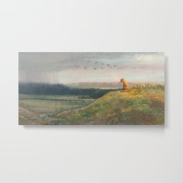 Red Fox Looks Out Over the Valley Metal Print