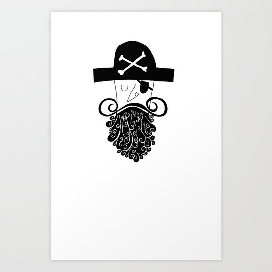 Black Bearded Art Print