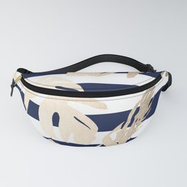 Simply Tropical Palm Leaves on Navy Stripes Fanny Pack