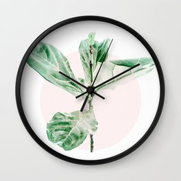 Fiddle leaf - pink pot Wall Clock