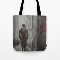 rorschach Tote Bags featuring Rorschach by JadeJonesArt