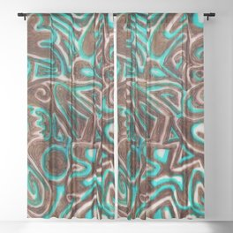 Jack Turquoise/Brown Sheer Curtain