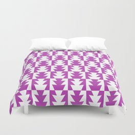 Art Deco Jagged Edge Pattern Magenta Duvet Cover