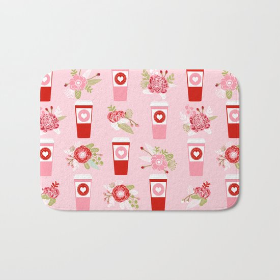 Coffee valentines day florals cute coffee lovers gifts that say i love you Bath Mat