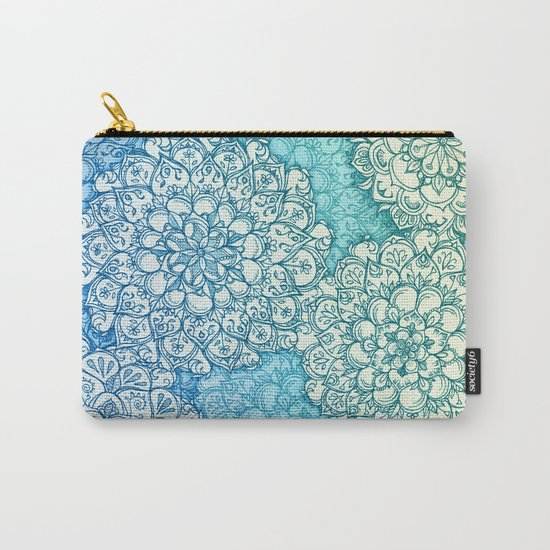 Blue Green Ballpoint Pen Doodle Poem Carry-All Pouch
