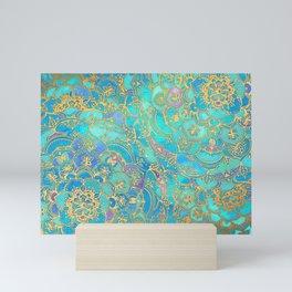 Sapphire & Jade Stained Glass Mandalas Mini Art Print