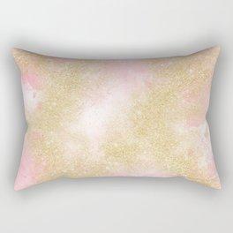 Pink watercolor gold glitter dust pattern Rectangular Pillow