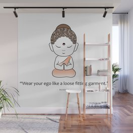 Cute little Buddha with inspiring quote Wall Mural