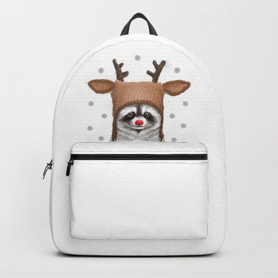 raccoon in deer hat Backpack