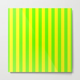 Super Bright Neon Yellow and Green Vertical Beach Hut Stripes Metal Print