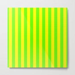Super Bright Neon Yellow and Green Vertical Beach Hut Stripes Metal Print