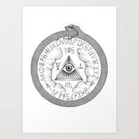 ouija Art Prints featuring Ouija by oracularcoven