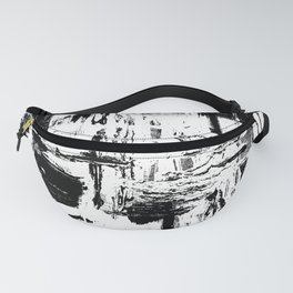 Black and White pouring painting Fanny Pack