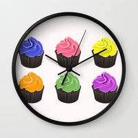 cupcakes Wall Clocks featuring Cupcakes by kourai