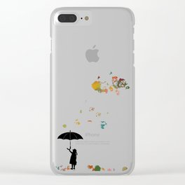 Colorful snow in Winter Clear iPhone Case