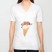 icecream V-neck T-shirts featuring Summer Icecream by Michelle Dadoun