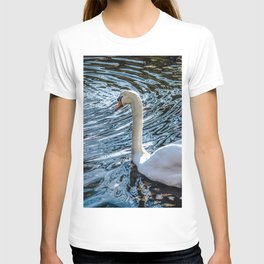 White swan with black feet T-shirt