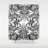 cheshire cat Shower Curtains featuring cheshire cat by vasodelirium