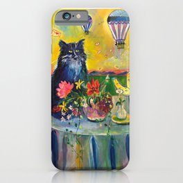 Cat and hot air balloons iPhone Case