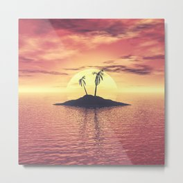 Sunset Over A Tropical Island Metal Print