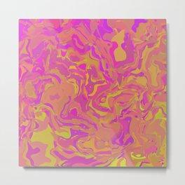 Pink, Orange, and Yellow Swirl Metal Print