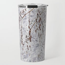 Birch branches covered with snow in the winter snow-covered forest Travel Mug