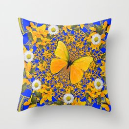 BUTTERFLY GREEN FROGS WHITE DAISIES BLUE MANDALA Throw Pillow