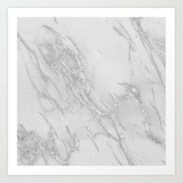 Marble Love Silver Metallic Art Print