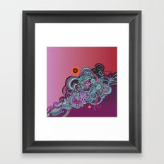 Detailed diagonal tangle, pink and purple Framed Art Print