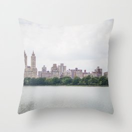 Monochromatic - New York City Central Park, Architecture Landscape, Cloudy City Skyline Photography Throw Pillow