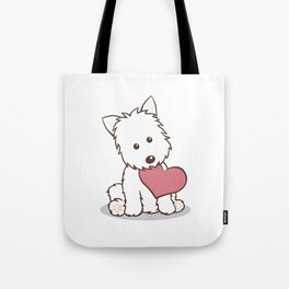 Westie Dog with Love Illustration Tote Bag