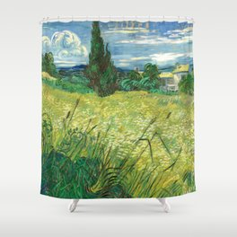 Green Field by Vincent van Gogh Shower Curtain