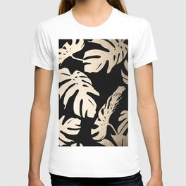 Simply Palm Leaves in White Gold Sands on Midnight Black T-shirt