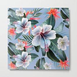 Hawaii, tropical hibiscus vintage style blue dream palm leaves Metal Print