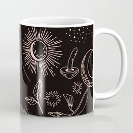 Hand drawn abstract flat graphic icon illustration sketch seamless esoteric pattern Coffee Mug