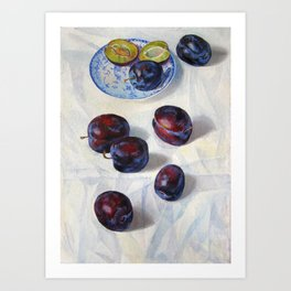 still life. plums, original oil painting Art Print