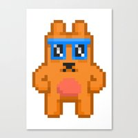 8bit Canvas Prints featuring 8Bit RaveBear by Bear Picnic