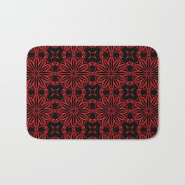 Deep Red Floral Bath Mat