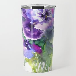 Pansy, flowers, violet flowers, gift for woman design floral vintage style Travel Mug